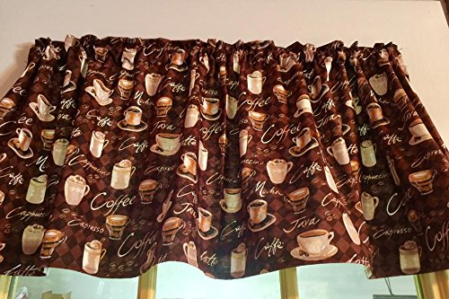 Valance for Coffee Lover, Coffee Shoppe Kitchen Window Topper Brown Cotton fabric with Coffee Theme Cup or Mug
