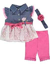 "Duck Duck Goose Baby Girls' ""Rosy Chambray"" 3-Piece Outfit"