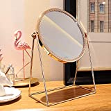 WAYCOM Makeup Mirror,Gold Makeup Mirror Decorative Makeup Mirror Cosmetic Mirror,Round Vanity Mirror Rose Gold Table Mirror Single Side 360° Rotatable for Bathroom or Bedroom (Round)