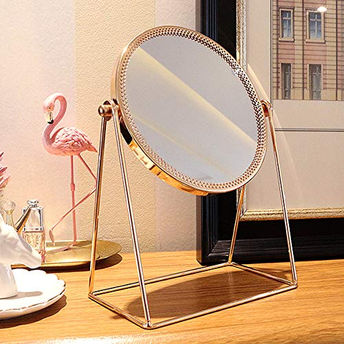 WAYCOM Makeup Mirror,Gold Makeup Mirror Decorative Makeup Mirror Cosmetic Mirror,Round Vanity Mirror Rose Gold Table Mirror Single Side 360° Rotatable for Bathroom or Bedroom (Round) by WAYCOM