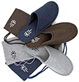 Mens-4-Seasons-Cotton-Washable-Slippers-with-Matching-Travel-Bag-for-Home-Hotel-Spa-Bedroom