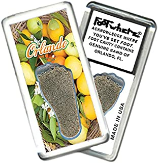"""product image for Orlando """"FootWhere"""" Fridge Magnet (OD202 - Citrus). Authentic Destination Souvenir acknowledging Where You've Set Foot. Genuine Soil of Featured Location encased Inside Foot Cavity. Made in USA"""