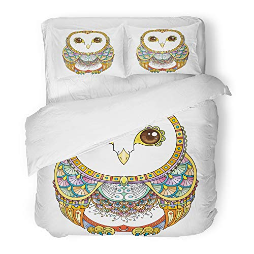 Emvency Bedding Duvet Cover Set Twin (1 Duvet Cover + 1 Pillowcase) Zendoodle Ornate Owl Cute Patterned Funny Bird for Coloring Pages and Antistress Hotel Quality Wrinkle and Stain -