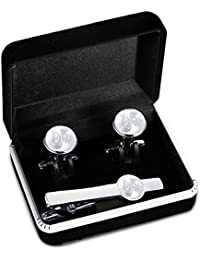 Engraved Tie Clip and Initial Cufflinks Set for Men Women Pearl Cufflinks and Alphabet Letter A-W Tie Bar Set for Business Wedding Silver Tone