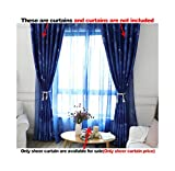ASide BSide Starry Sky Printed Rod Pockets Dark Pattern Home Treatment Voile Panels For Houseroom Kitchen and Girls Room (2 Panels, W 52 x L 63 inch, Blue)