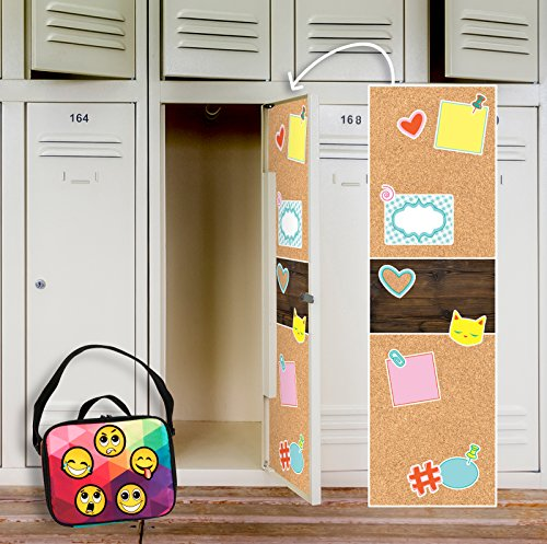 BirthdayExpress Faux Printed Vinyl Cork Board School Supplies Locker Decal Decoration and Emoji Patches