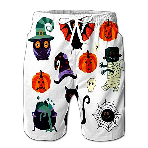 Flat Cartoon Halloween Autumn Holiday Symbols Set Black