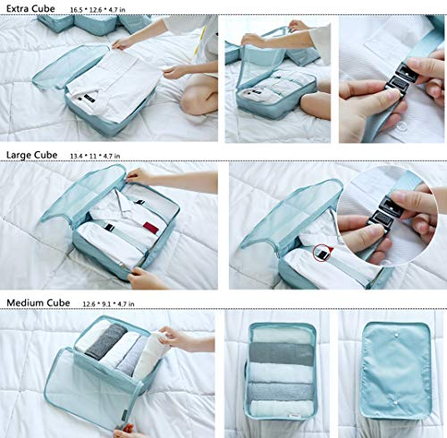 Packing Organizers - Clothing Cubes Shoe Bags Laundry Pouches For Travel Suitcase Luggage, Storage Organizer 6 Set Color Cyan by Diniwell (Image #5)