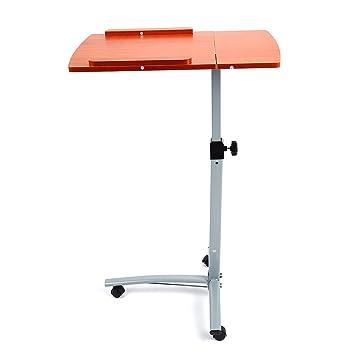 Altura ajustable portátil ordenador portátil mesa Atril Soporte con 3 ruedas giratorias, ordenador escritorio sofá