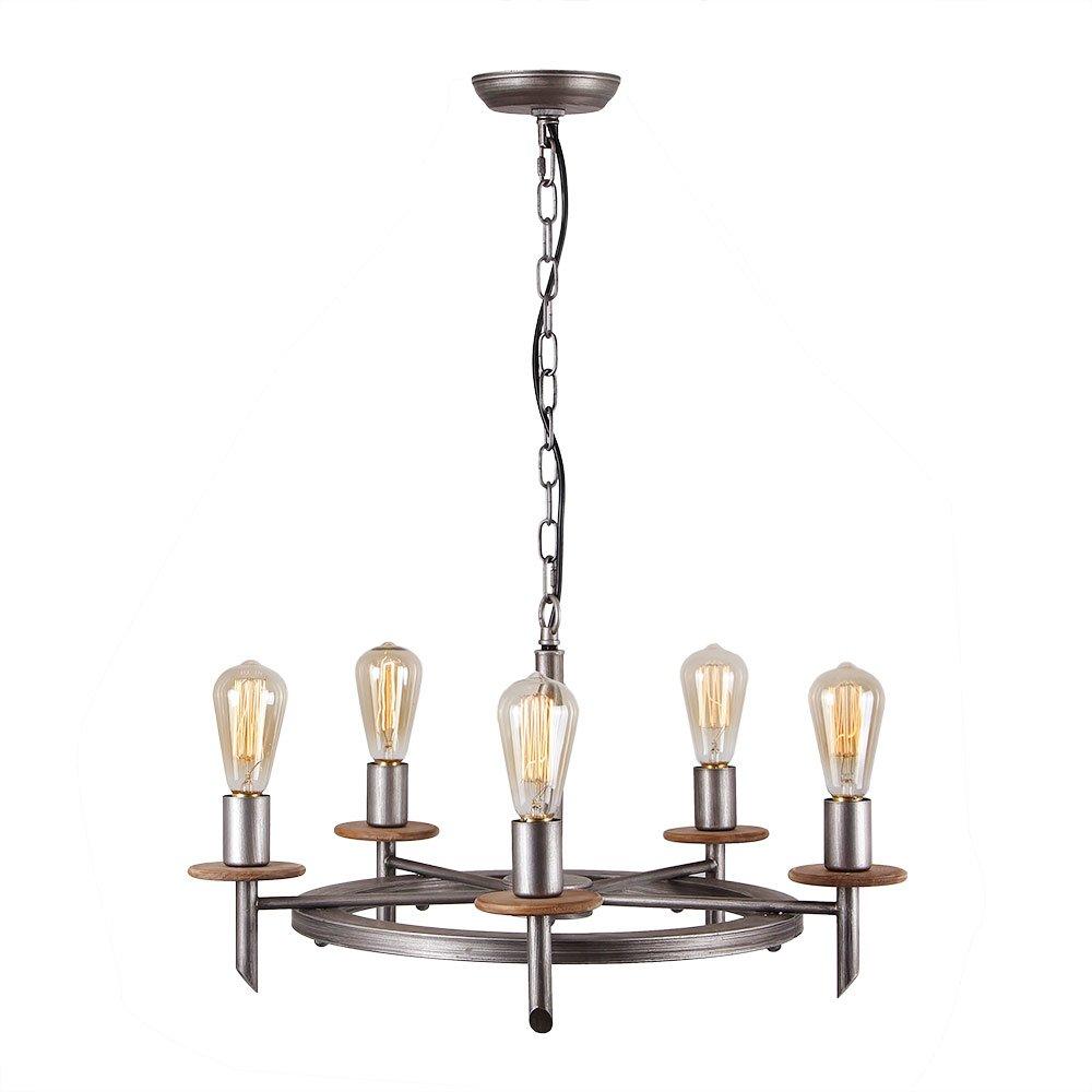 Eumyviv C0020 5-Lights Annular Metal Wood Chandelier Retro Rustic Industrial Pendant Light Edison Vintage Decorative Light Fixtures Ceiling Light Luminaire