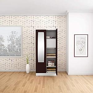 GODREJ INTERIO Slimline 2 Door Steel Almirah with Locker, Drawer, Mirror in Russet,Glossy Finish