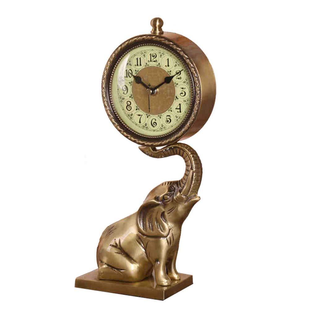 卓上時計ファミリー時計ヨーロッパ式の純銅置時計、象のミュート装飾的なリビングルームのベッドサイドリビングルームの寝室に最適 B07TGGXLRX