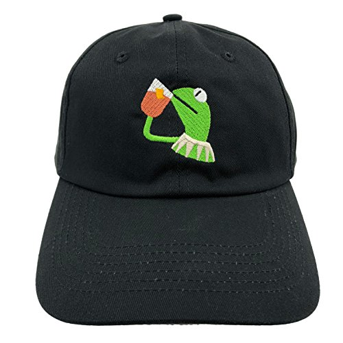 Price comparison product image Kermit The Frog Dad Hat Cap Sipping Sips Drinking Tea Champion Lebron Costume (Black)