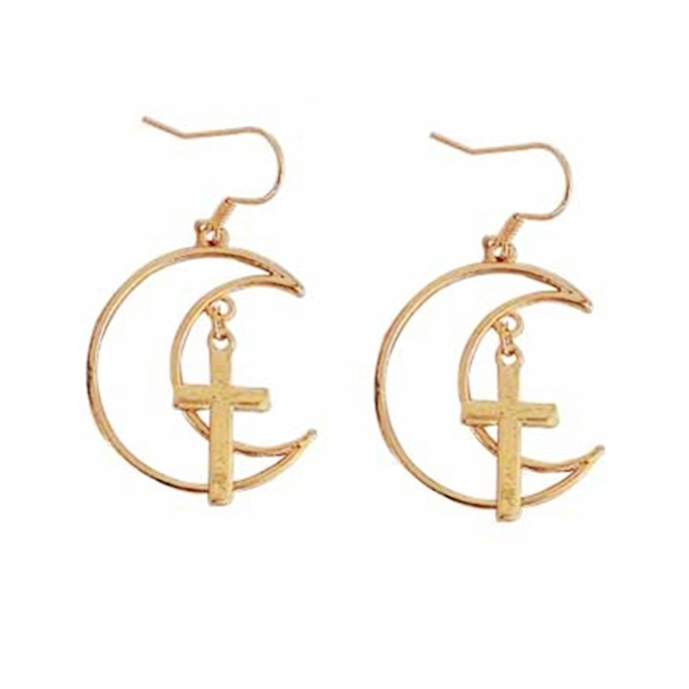 18K Gold Plated Two-tone Crucifix Cross With Hollow Moon Charm Tassel Dangle Earrings