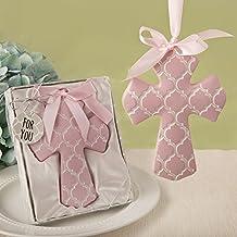 Pink Hampton Link Design Cross Ornament In A Fancy Favor Box , 36