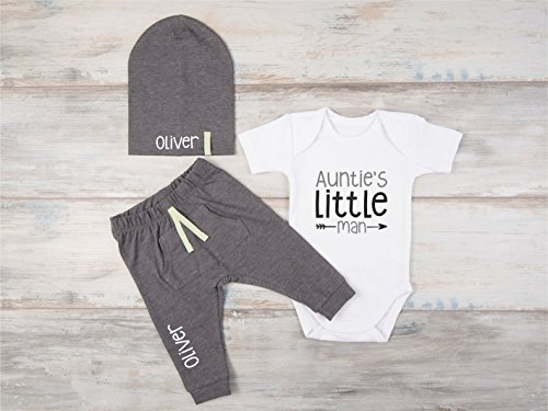 Baby Boy Auntie's Little Man Outfit, Nephew Gift, Set of 3 - Bodysuit, Pants and Hat by Big.Lil.Tees