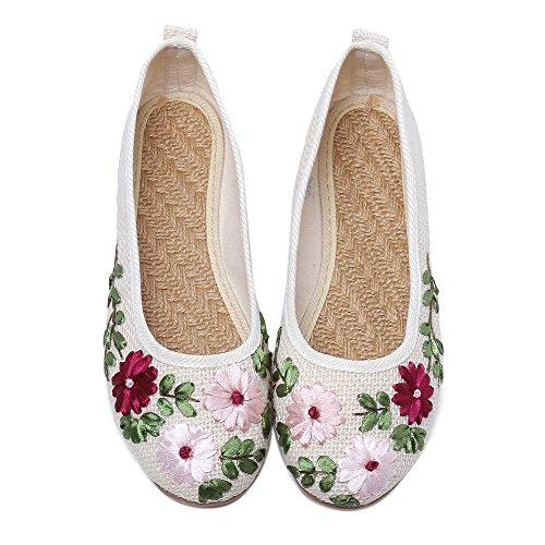 Bordadas Tres Blanco de Bonitos Elegantes Margaritas Zapatos y qApCzPwB