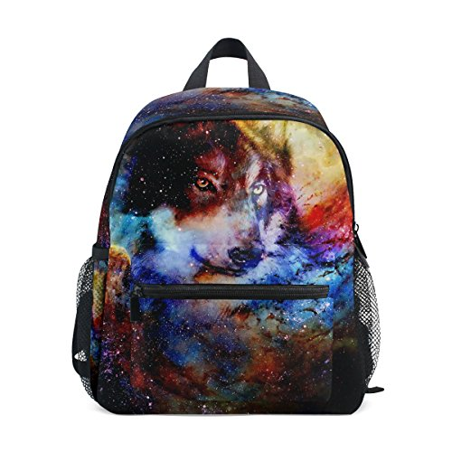 Boys ZZKKO nbsp;for Galaxy nbsp;Book nbsp;Toddler nbsp;Bag nbsp;Backpack nbsp;Girls Kids Wolf nbsp;School pSqrz