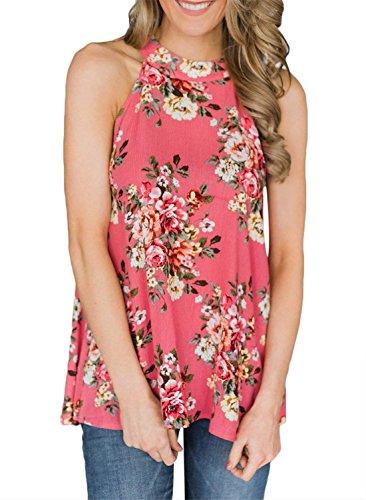 Women's Summer Sleeveless Halter Neck Floral Print Tank Tops Camis Shirts Blouse Pink