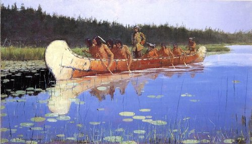 "Frederic Remington Radisson and Groseilliers - 18.1"" x 27.1"" Peel & Stick Removable Wall Decal"