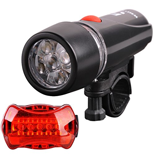 Bicycle Light Set-The Waterproof of 5 LED Headlight and 5 LED Taillight, Easy Installation for Cycling Safety
