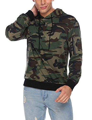 COOFANDY Mens Camo Pullover Hoodie Camouflage Hooded Sweatshirts With Zipper Pocket Medium Green Camouflage Hooded Sweatshirt