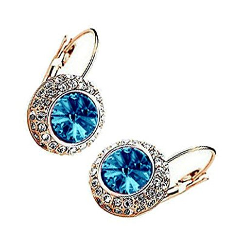 18K Rose Gold Plated, Light Sapphire Blue Evil Eye Surrounded with Clear Pave Set Crystal Elements, Fashion Round Leverback Earrings, 25mm X 15mm