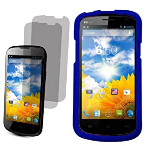 BJ Shield Cover Snap On Case for AT&T, T-Mobile, H2O, Net 10 Blu Dash 4.5 x2 Fitted Screen Protector-Blue