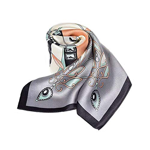 100% Pure Mulberry Silk Square Scarf for Hair-27''x27''- Soft Breathable Lightweight Satin Silk Neckerchief Headscarf (Pink & Light Gray)