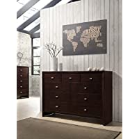 Roundhill Furniture B351D Gloria 351 Brown Cherry Finish Wood 9 Drawers Dresser