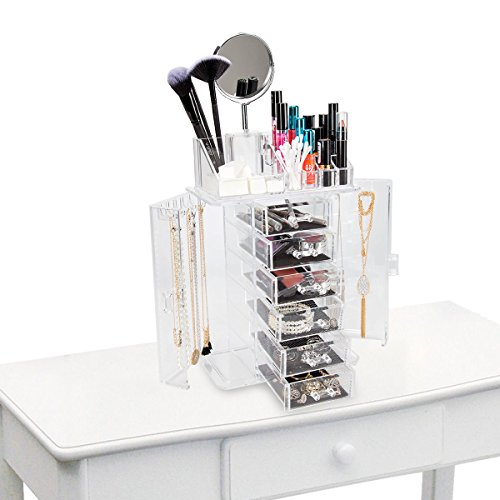 ClosetMate Clear Acrylic Jewelry Makeup Organizer Set - 6 Cushioned Drawers With Two Sided Mirror - Organize Lipstick Nail Polish Makeup Brushes keep Vanity Dresser Organized by StorageAid
