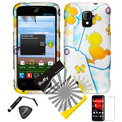 4 items Combo: ITUFFY (TM) LCD Screen Protector Film + Mini Stylus Pen + Case Opener + Blue Polka Yellow Rubber Duck Butterfly Design Rubberized Snap on Hard Shell Cover Faceplate Skin Phone Case for ZTE Majesty / Z796c - StraightTalk (Yellow Duck)
