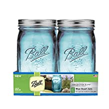 Ball Wide Mouth Elite Collection Quart Jars, 4 Pack, Blue