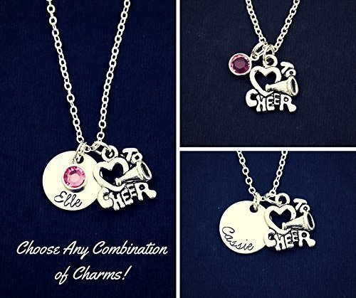 (Cheerleader Necklace - DII ABC - Squad Gift - Handstamped Handmade Jewelry - 5/8 Inch 15MM Silver Disc - Choose Your School Color Crystals - Custom)