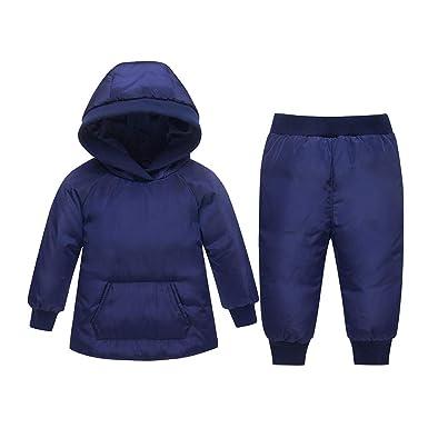 d2fd11e7b1af JINZFJG Doudoune de Neige Bébé Garçon Fille Combinaison à Capuche Épais  Chaud Hiver Manteau Parka Bonnet