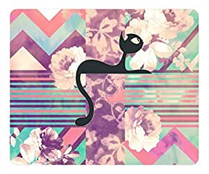 Retro Pink Turquoise Floral with a mini cat Mouse Pad Rectangle by Cases & Mousepads