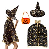 cool costume for kids - Cool Black Kid's Costumes Witch Wizard Cloak with Hat and a Pumpkin Bag for Both Boys and Girls Halloween Props.