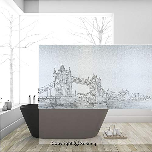 3D Decorative Privacy Window Films,Old Fashion London Tower Bridge Sketch Architecture British UK Scenery Art Print,No-Glue Self Static Cling Glass Film for Home Bedroom Bathroom Kitchen Office 36x24 -