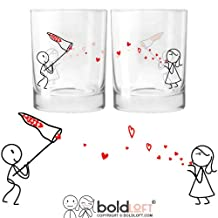 BOLDLOFT Catch My Love His and Hers Drinking Glasses- Valentines Day Gifts for Boyfriend, Husband Gifts, Couples Gifts for Him and Her, Romantic Gifts for Anniversary,Bridal Shower,Wedding,Engagement