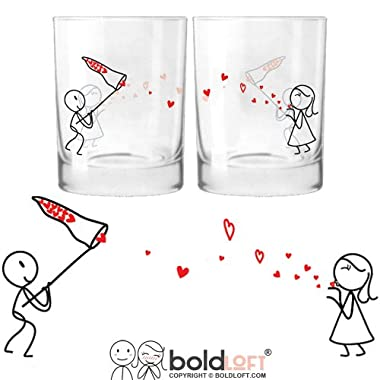 BOLDLOFT®  Catch My Love  His & Hers Drinking Glasses-His Hers Couple Gifts,Matching Couples Gifts,Christmas Gifts for Him for Boyfriend,Cute Valentines Day Gifts,Romantic Anniversary Gifts