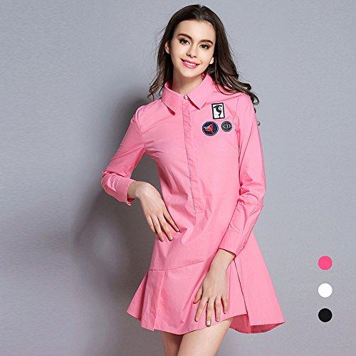Vestido Larga Vestido Slim De Manga Pink ZHUDJ fCwdqaHf