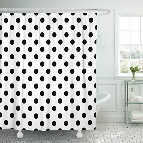 Emvency Shower Curtain Colorful Circle Polka Dot Pattern Black on White Abstract Classic Waterproof Polyester Fabric 72 x 72 inches Set with Hooks (Brown Polka Dot Shower Curtain)