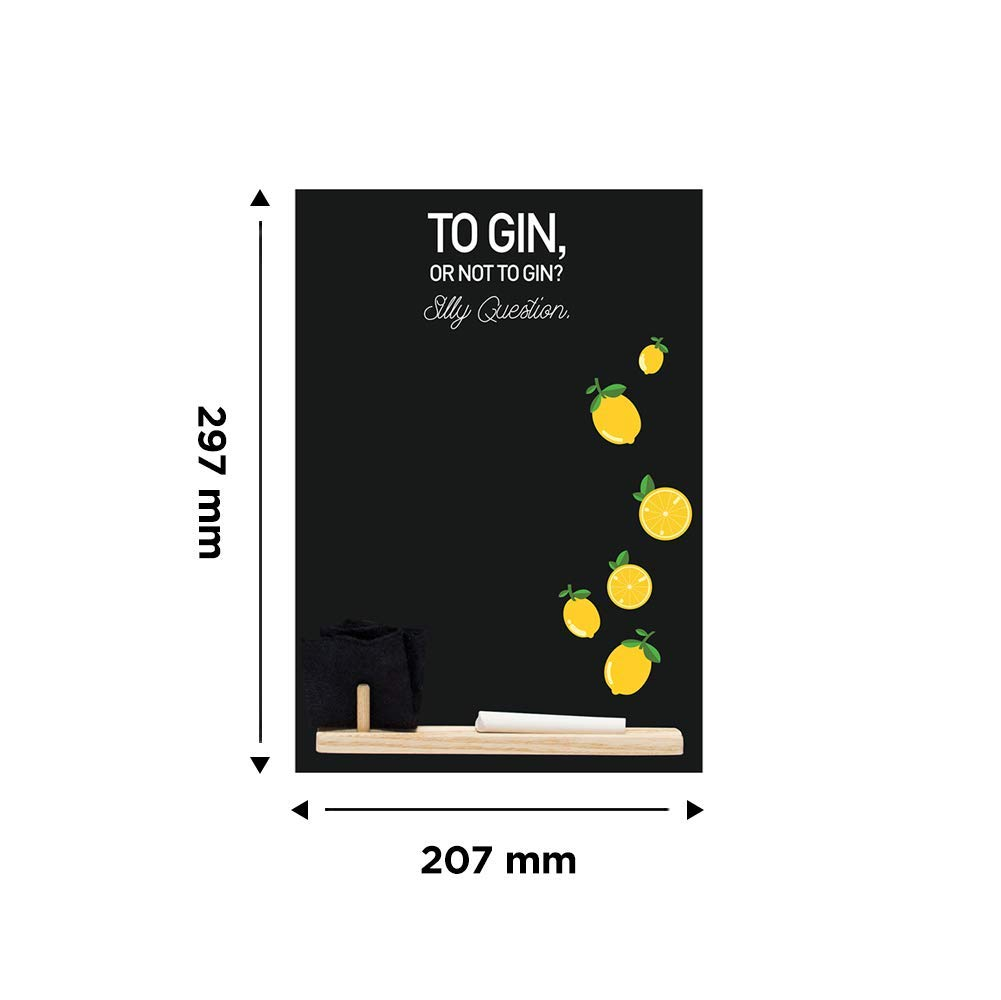 Chalkboards UK Small lavagnetta//lavagna//lavagna//lavagnetta da cucina con stampato gin Silly question opera nero Booth design RANGE 29.7/ x 20.7/ x 1/ cm vassoio di legno Legno pezzo di gesso e cancellino in feltro