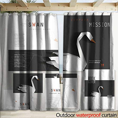- Porch Curtains Black and White Corporate Identity Stationery Set with White swan Drapery W108 x L108