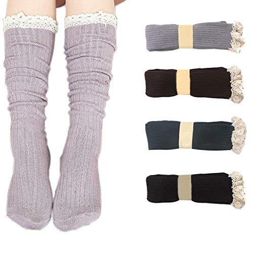 Bestjybt Women Cotton Knit Boot Socks Knee High Socks Stockings with Lace Trim(4 Pairs-Style 03)