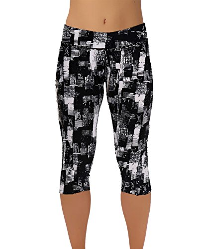 Urtrend Women's Printed Yoga Active Workout Capri Leggings Fitted Tights(XL,Color57) (Danskin Capris)