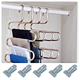 HonTop S-type Multi-Purpose Pants Hangers Rack Stainless Steel Magic for Hanging Trousers Jeans Scarf Tie Clothes,Space Saving Storage Rack 5 layers (2)