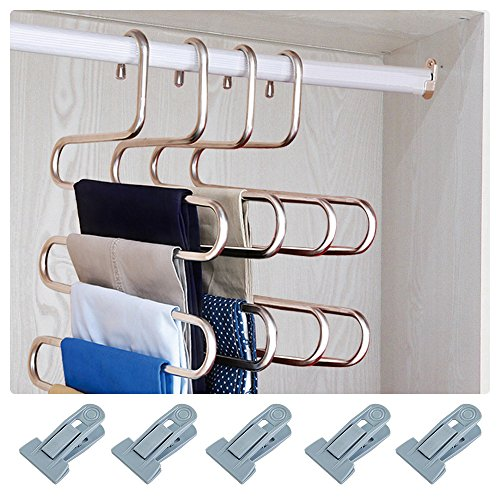 HonTop S-type Multi-Purpose Pants Hangers Rack Stainless Steel Magic for Hanging Trousers Jeans Scarf Tie Clothes,Space Saving Storage Rack 5 layers (2) -