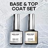 Modelones New No Wipe Top and Base Coat Set - UV LED Soak Off New Upgraded Formula Gel Nail Polish 2X10ml Long-Lasting Mirror Shiny Glossy Finish