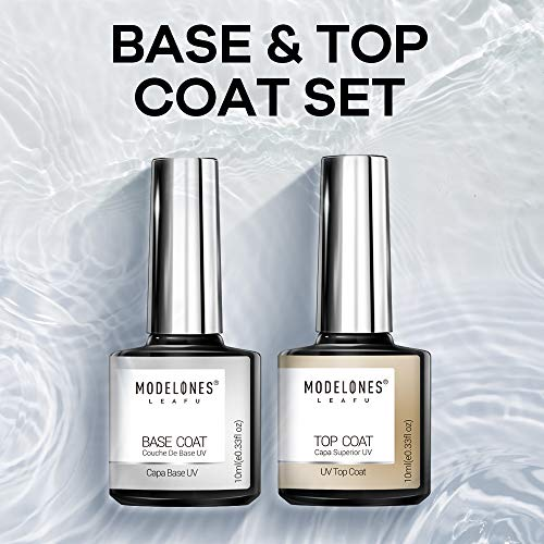 Modelones New No Wipe Top and Base Coat Set - UV LED Soak Off New Upgraded Formula Gel Nail Polish 2X10ml Long-Lasting Mirror Shiny Glossy Finish